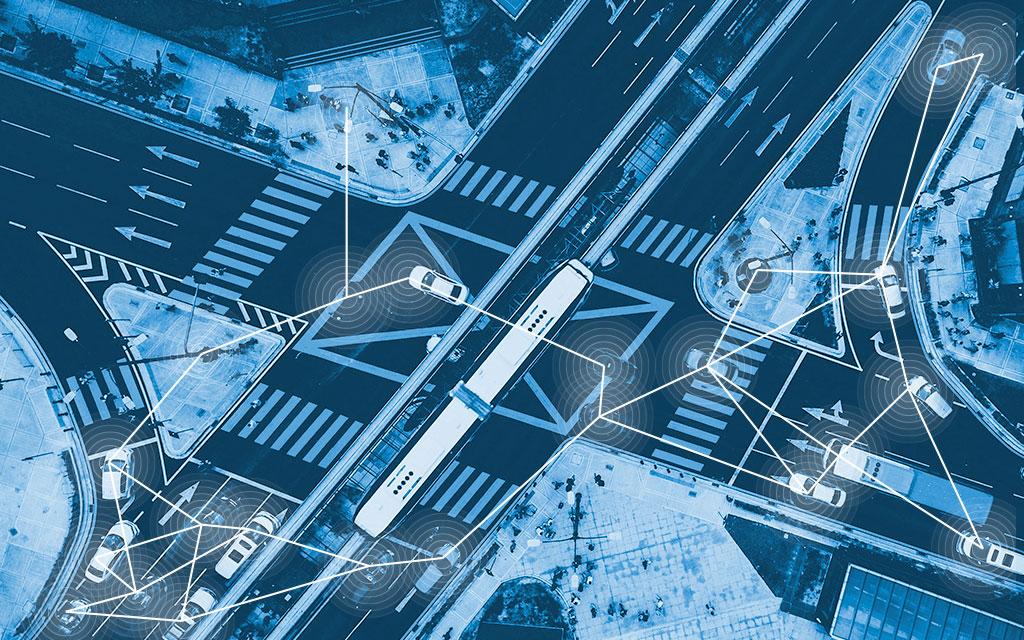 Vista aérea de veículos autónomos